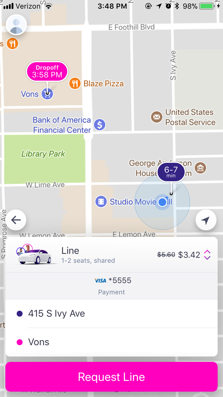 GoMonrovia Lyft Instructions - Line Option Selected by Mistake