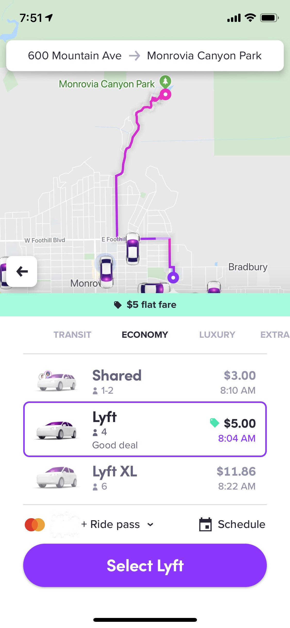 Non-Shared Lyft