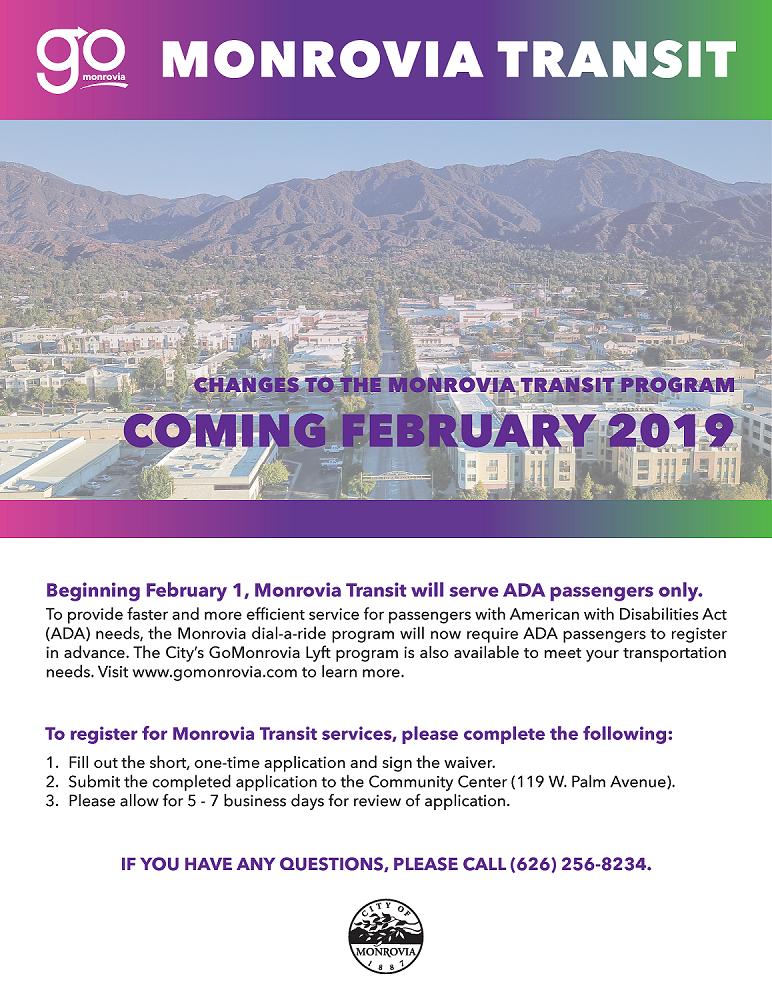 Monrovia Transit Changes Effective February 1 2019