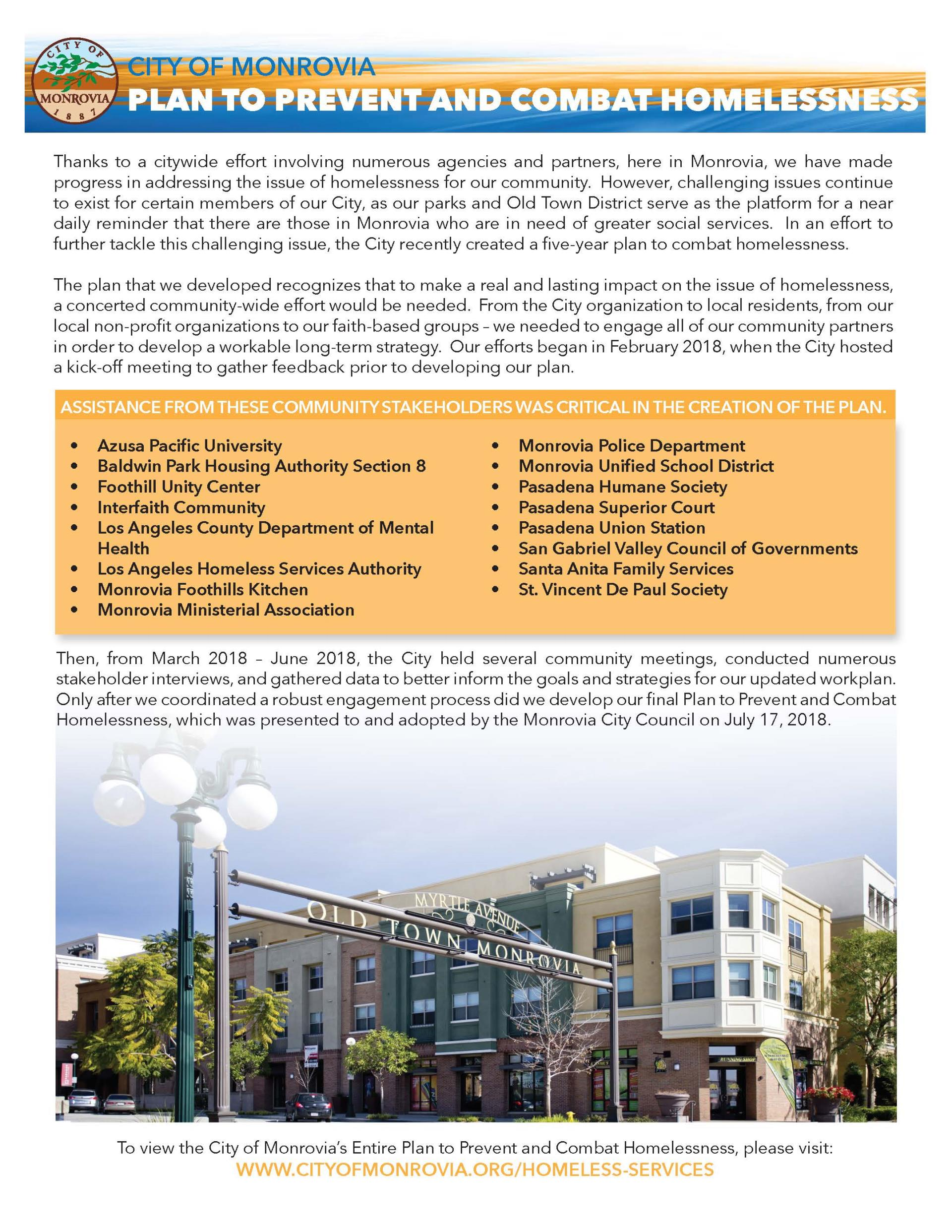 Homeless Plan Executive Summary Background Information