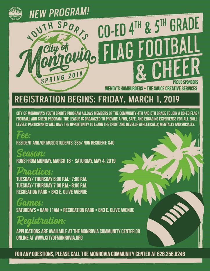 Youth Sports 2019 - Flag Football and Cheer Flyer