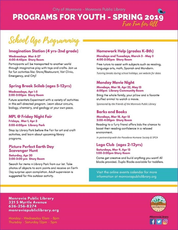 Programs for Youth Spring