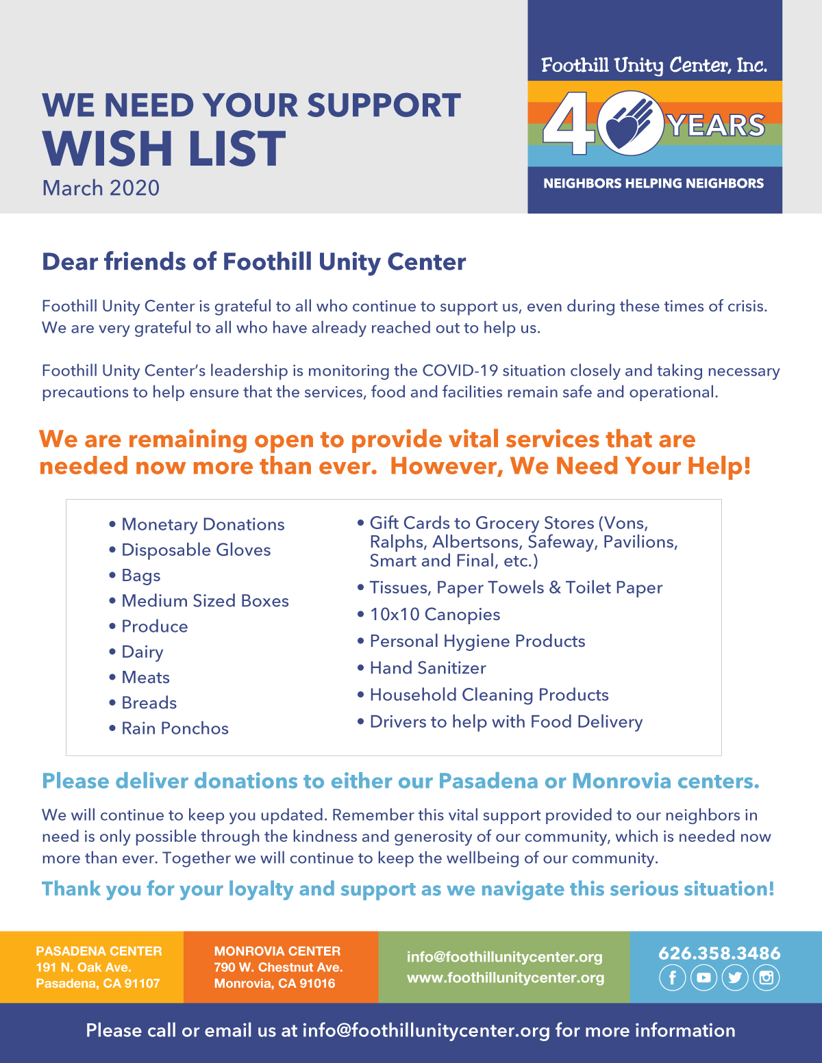 Foothill Unity Center Wishlist