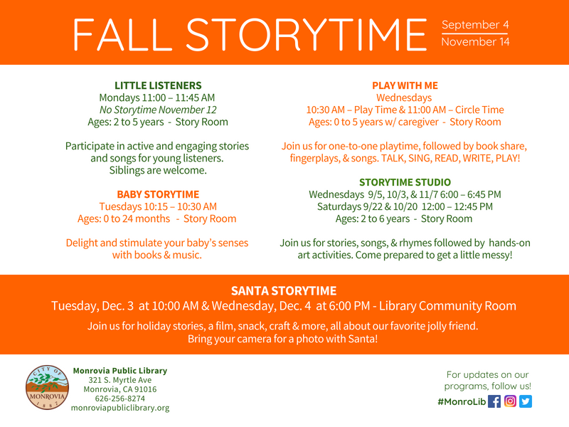 Fall 2018 Storytime Schedule Flyer