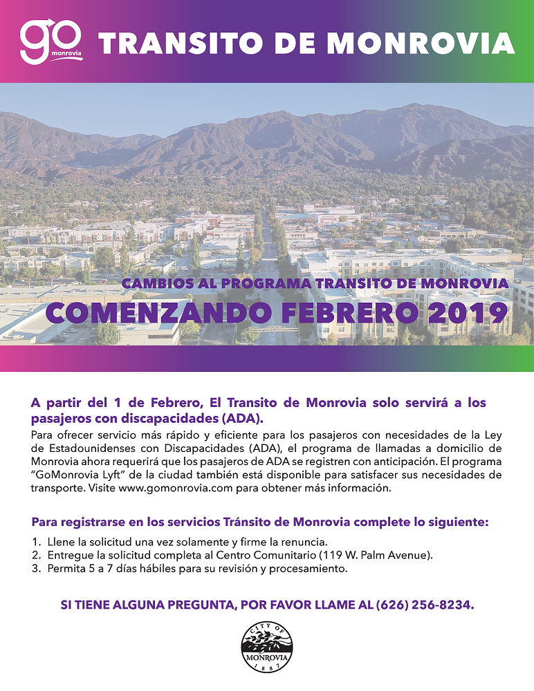 Monrovia Transit Changes Effective February 2019 Flyer in Spanish