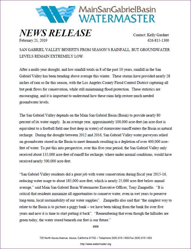 Watermaster Press Release