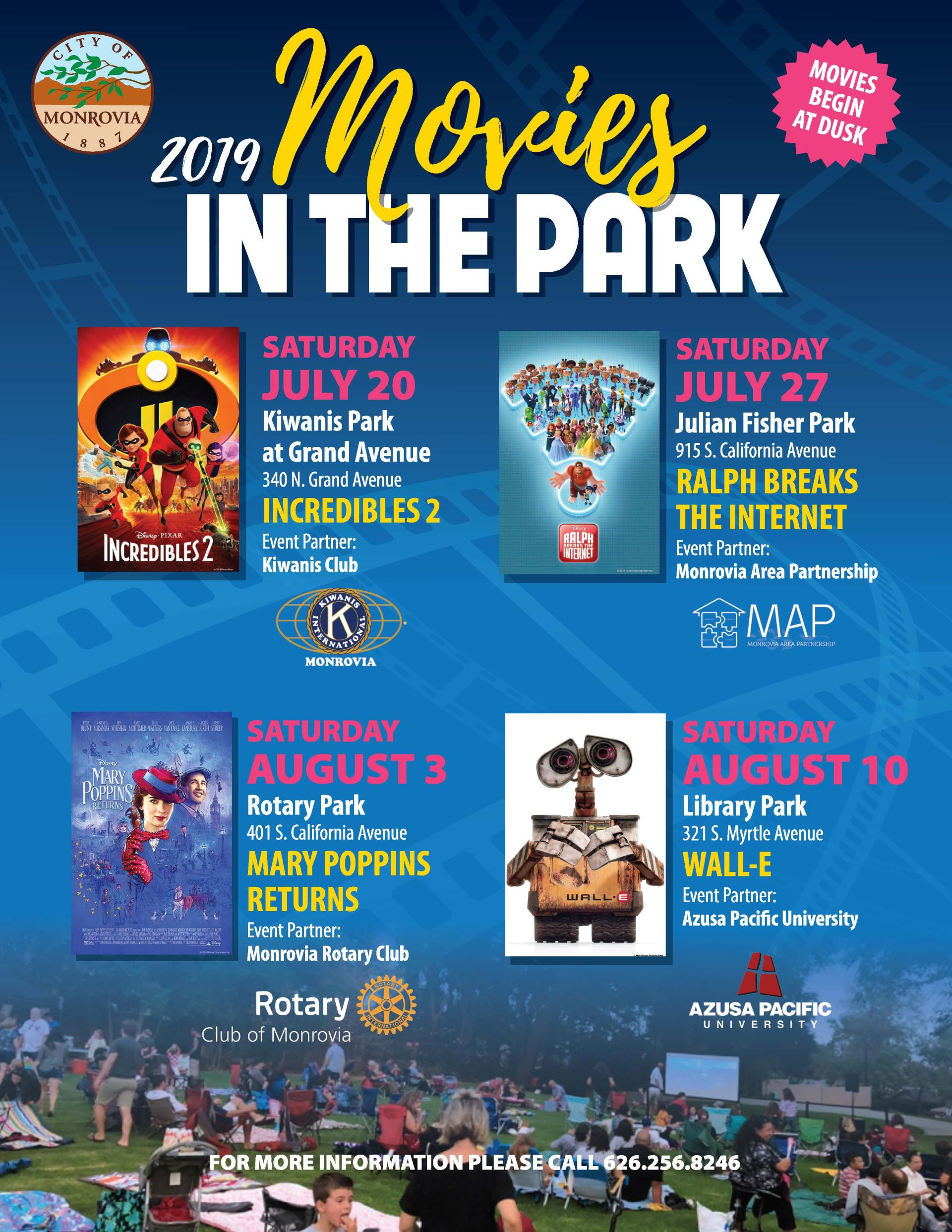 2019 Monrovia Summer Movies Flyer